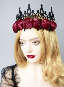 Black Gothic Retro Red Rose Female Wizard Halloween Baroque King Crown Bride Hairband