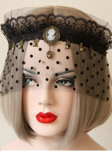 Baroque Retro Gothic Halloween Bunny Love Crown Black Lace Veil Headband