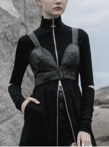 Front Adjustment Button Black Punk PU Leather Corset