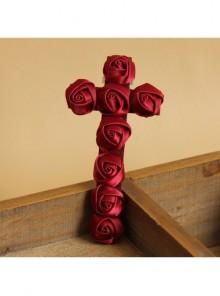 Red Gothic Vampire Retro Bride Rose Flower Cross Ribbon Hairpin