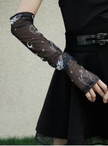 Black Gothic Half-Finger Skull Print Mesh Arm Sleeve
