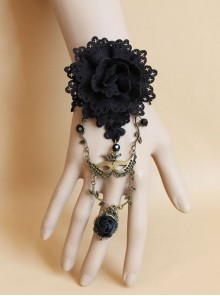 Black Gothic Retro Christmas Holiday Flower Crystal Lace Bracelet With Ring One Chain