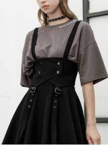 Metal Eyelets Shoulder Strap Front Button Black Punk Suspenders Corset