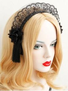 Retro Fashion Halloween Christmas Gothic Black Maid Lace Flowers Tassel Headband