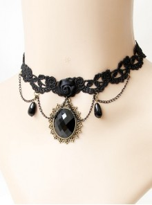 Black Lace Gems Pearls Creativity Personality Gothic Retro Short Necklace