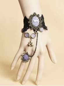 Halloween Christmas Gothic Black Rose Amethyst Bell Ball Lace Female Bracelet With Ring One Chain