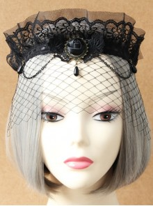 Gothic Lace Crown Headband Veil Retro Exaggerated Masked Mesh Mask