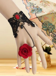 Vintage Red Rose Gothic Black Lace Pearl Band Ring Bracelet