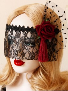 Gothic Retro Personality Tassel Ribbon Red Rose Lace Cabaret Half Face Princess Halloween Lace Veil
