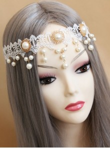 Baroque White Palace Style Bride Pearl Lace Wedding Christmas Wreath Headband