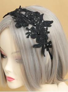 Gothic Black Lace Retro Handmade Fashion Resin Drill Female Hair Band