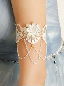 White Baroque Palace Style Retro Tassel Lace Female Wedding Dress Resin Diamond Arm Ring Bracelet