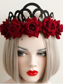 Halloween Christmas Gothic Retro Queen Red Rose Black Crown Wreath Headband