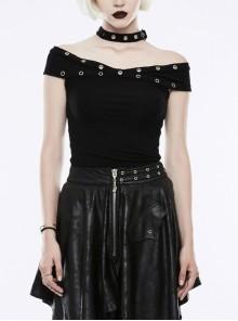 Off-Shoulder Metal Buckle Collar Black Punk Knit Slim T-Shirt