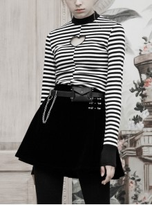 High Collar Front Chest Hollow-Out Long Sleeve White Striped Tight T-Shirt