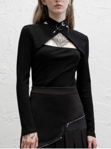 Print Collar Front Chest Hollow-Out Long Sleeve Black Punk Halter T-Shirt