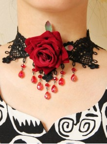 Gothic Fashion Red Rose Flower Black Lace Crystal Retro Short Necklace