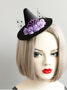 Halloween Female Gothic Retro Masquerade Party Black Mesh Purple Flowers Wizard Hat