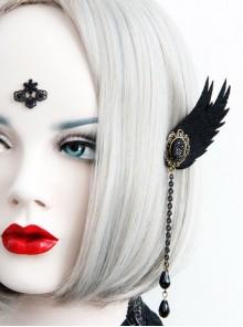 Gothic Black Tassel Wings Long Felt Cloth Crystal Chain Ear Bone Clip Earrings Hanging Buckle No Pierced Jewelry