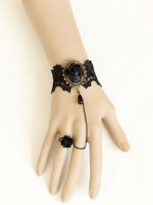 Black Gothic Lace Ribbon Rose Flower Bracelet With Ring Set Vampire Accessories