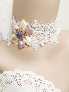 Baroque Handmade Retro Ribbon Flower White Lace Female Exaggerated Palace Choker