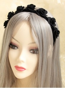 Halloween Black Gothic Rose Velvet Ribbon Garland Retro Female Creative Hairband