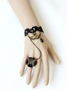 Gothic Black Lace Butterfly Mask Rose Female Bracelet Ring One Chain