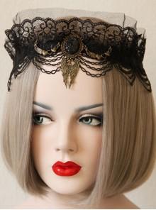 Halloween Gothic Bride Black Lace Mesh Female Wings Gems Crown Headband