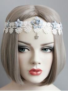Baroque White Lace Blue Flowers Ribbon Crown Wreath Retro Handmade Hairband