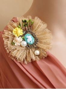 Big Flower Rabbit Pearl Beige Lace Retro Handmade Antique Female Epaulette Corsage Pin Buckle