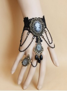Gothic Prom Black Lace Portrait Pearl Jewel Female Bracelet With Ring One Chain