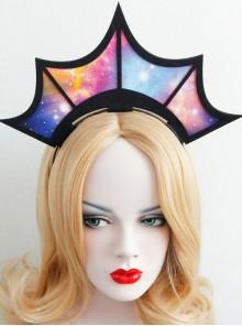 Gothic Halloween Christmas Starry Sky Crown Queen Birthday Bride Headband