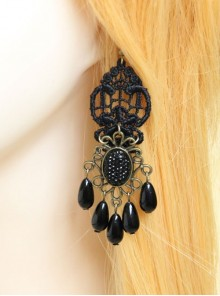 Gothic Black Retro Party Exaggerated Pearl Lace Female Earrings