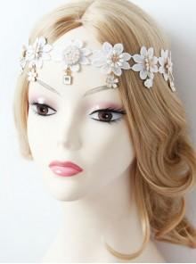 Baroque Palace Style Flowers White Lace Pop Retro Female Hairband