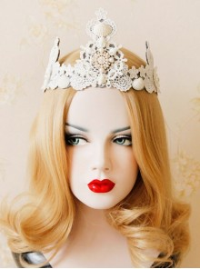 Baroque Pearl Shell Big Crown Bride Wedding White Lace Headband
