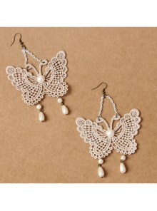Palace Style Baroque Fashion White Long Lace Pearl Butterfly Earrings