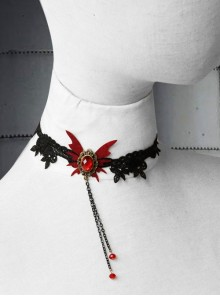 Gothic Retro Vampire Black Lace Female Butterfly Palace Style Ruby Choker
