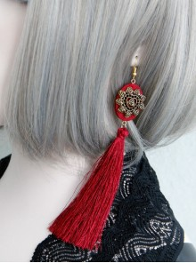 Fashion Personality Gothic Red Fabric Retro Love Long Exaggerated Tassel Earrings