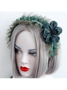Fashion Retro Dark Green Maid Style All-Match Flower Lace Rhinestone Broad-Brim Hair Band
