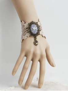 Gothic White Palace Lace Flower Love Retro Couple Bracelet