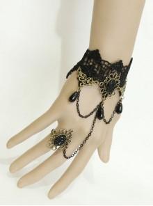 Retro Gothic Christmas Festive Black Lace Edge Pearl Wishing Female Ring Bracelet One