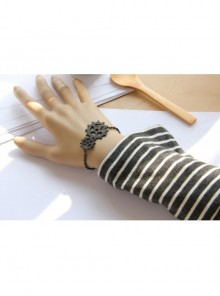 Punk Style Male Female Fashion Casual Black Chain Gear Artificial Leather Bracelet