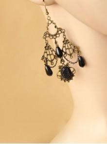 Gothic Retro Hollow Female Black Pattern Long Pearl Gem Earrings
