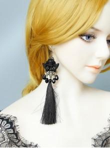 Black Angel Tassel Pearl Retro Long Halloween Gothic Queen Earrings