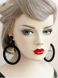 Black Gothic Retro Long Atmosphere Round Net Yarn Personality Fashion Temperament Earrings