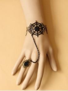 Demon Retro Cobweb Gothic Black Creative Gems Bracelet Ring Set