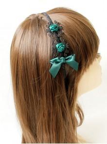 Retro Palace Princess Party Dark Green Flowers Bow Artificial Leather Ribbon Headband