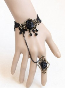 Gothic Black Artificial Crystal Retro Rose Flower Lace Female Bracelet With Ring One Chain