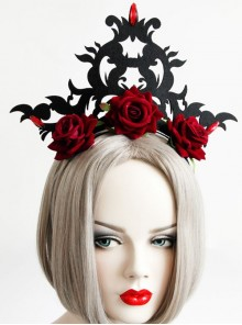 Gothic Queen Red Rose Exaggerated Black Crown Felt Cloth Resin Diamond Headband