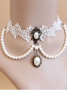 Lolita Bride Bridesmaid Wedding Party White Lace Pearl Female Choker